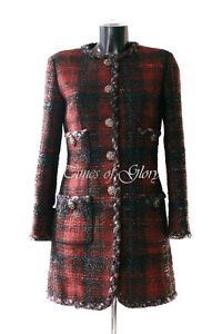 Auth CHANEL 2013 Red Black LESAGE Wool Boucle Tweed Coat Jacket Size FR36 US2 4