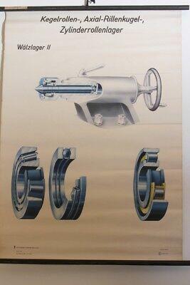 Schulwandkarte Chart Bearing Tapered Rollers Rillenkugel Technique Vintage 60er