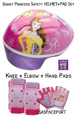 Kids Disney Princess BIKE HELMET+Safety GLOVES+ELBOW+KNEE PAD SET Scooter Skates