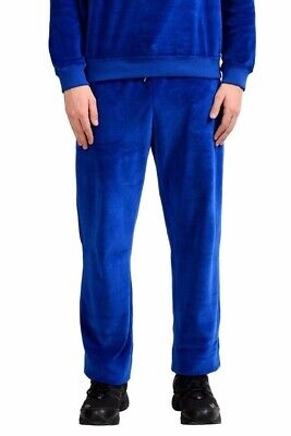 Versace Men's Blue Velour Sweat Track Pants Size L XL 2XL 3XL 4XL 5XL