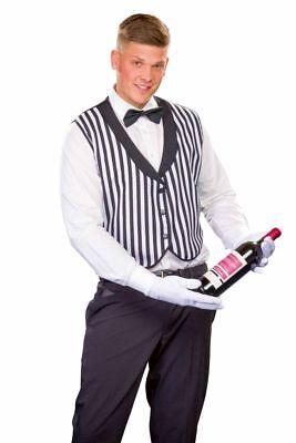 FM - Herren Kostüm Butler Weste schwarz-weiß Karneval - Butler Kostüme