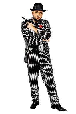 Mafiosi Gangster 2 teil. Anzug Herren Kostüm Gangster Hut schwarz Karneval NEU