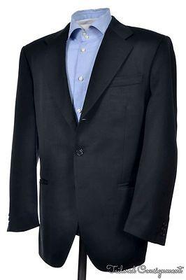 LUCIANO BARBERA Solid Black Wool Sport Coat Blazer Jacket - 40 R