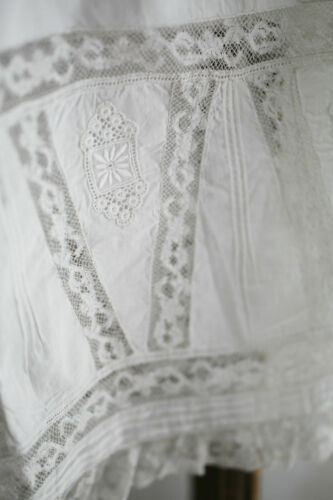 Antique French delicate cotton BLOOMERS pantaloons LACE broderie anglaise  c1900