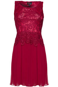 NEW-YUMI-WOMENS-LACE-LADIES-PLEATED-CHIFFON-SLEEVELESS-DRESS-SIZE-8-14-UK