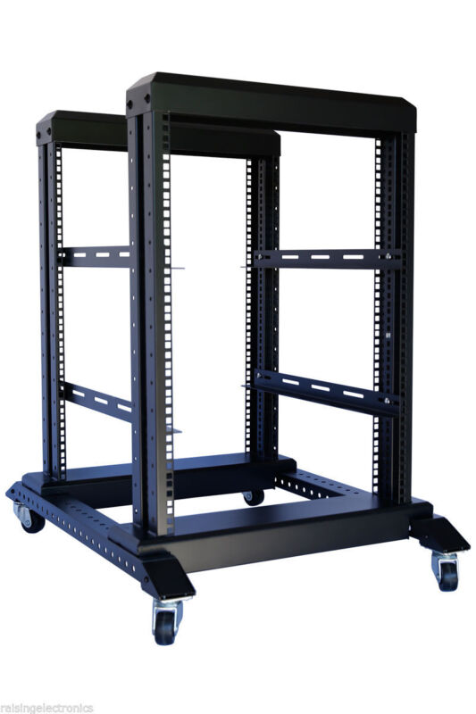 """15U 4 Post Open Frame 19"""" Server Steel Rack 24"""" Deep With Supporting rails"""