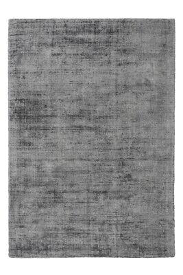Low-Pile Viscose Hand Woven Carpet Kurzflorteppich Grey Anthracite 160x230cm