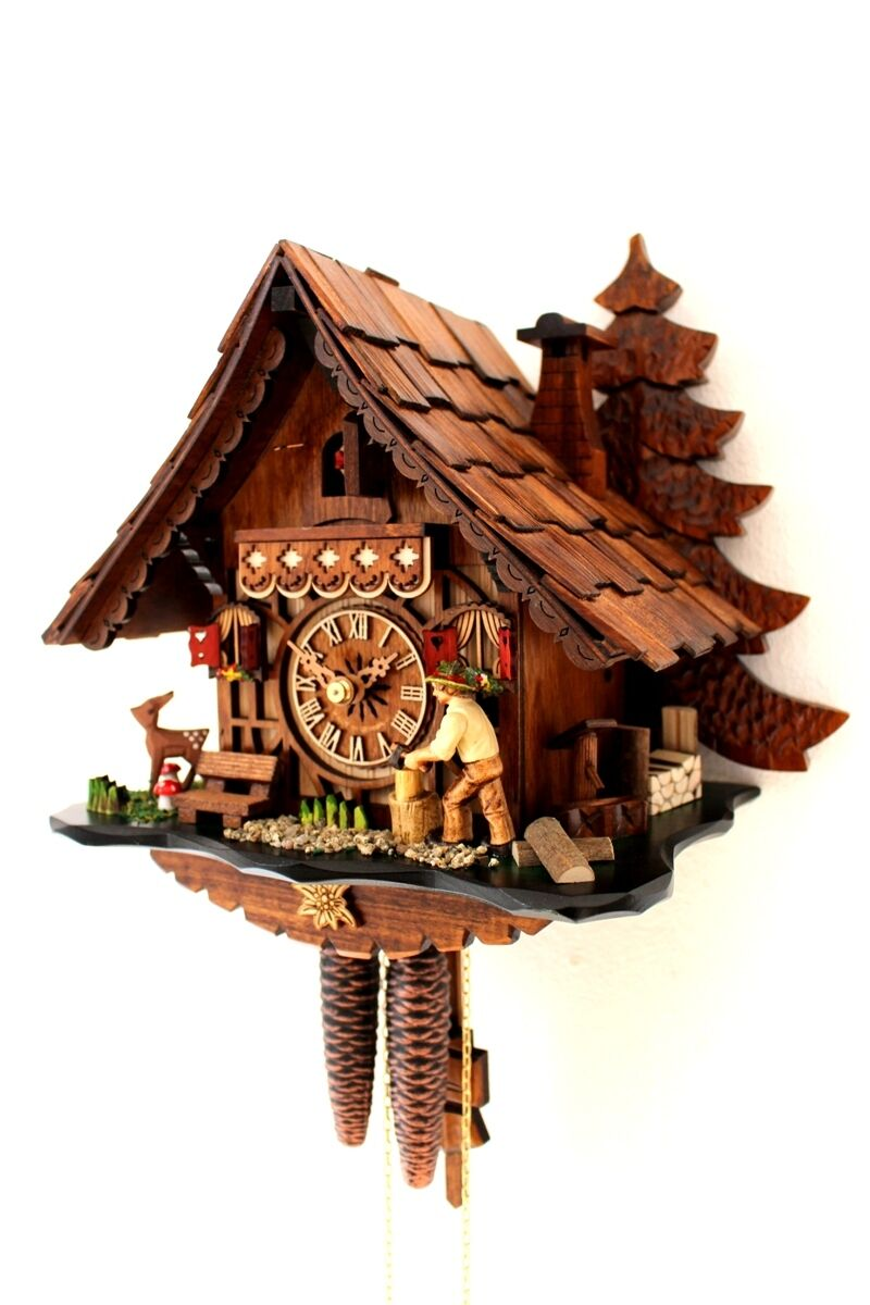 Cuckoo clock black forest 1 day german wood chopper mechanical new ebay - Coo coo clock pendulum ...