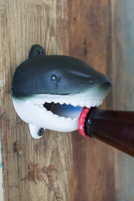 Kalalou Beach Gray and White Vintage Painted Cast Iron Shark Wall Bottle Opener