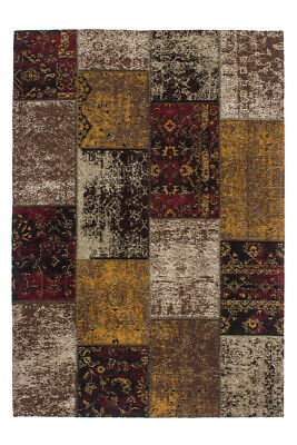 Flachflor Teppich Vintage Hangearbeitet Jacquard Kasten Design Rot