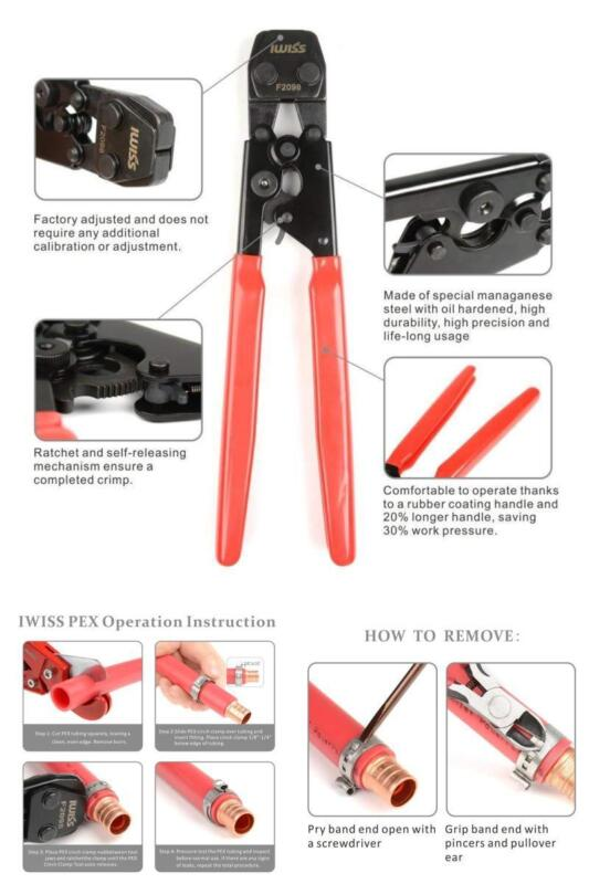"""PEX Cinch Crimping Tool Stainless Steel 3/8-1"""" Clamp Go No-G"""