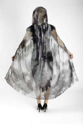schwarz grün transparent Vampir Gothic,Damen 110 cm (Schwarze Tüll-umhang Halloween)