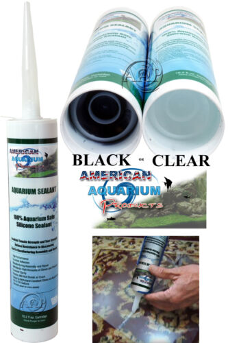 Silicone Aquarium Sealant  Clear or Black 10.2 oz, FDA Approved Fish Safe by AAP