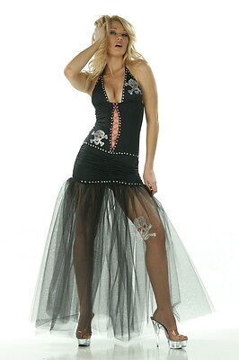 Piraten Kostüm Kleid M Gr.36-38 schwarz Neckholder  Fasching Karneval Fasnacht