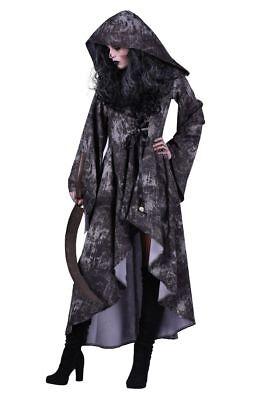 Kostüm, Kleid mit Kapuze Totenköpfe Tod, Vampira, Zombie Halloween, Gothic DAMEN