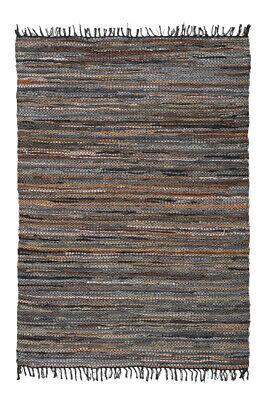Hand Gewebt Leder (Teppich Leder Baumwolle Streifen Optik Geflochten Fransen Handgewebt Braun)