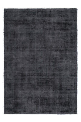 Handgefertigter Flachflor Teppich Flor Aus Viskose Uni Teppich Baumwolle Graphit