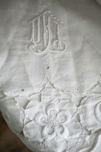 Art nouveau French linen sheet COLBERT EMBROIDERIES MJ mono 116 x 81 c1920