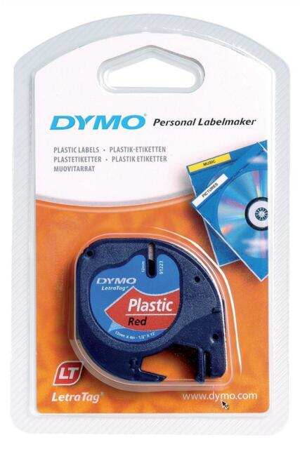 Dymo (12mm) Plastic Tape (Cosmic Red) for Dymo LetraTAG Series