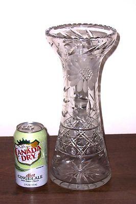 "ABP Clear Pressed & Deep Cut Glass 12"" Corset Shape Vase - Cane, Flowers, Leaves"