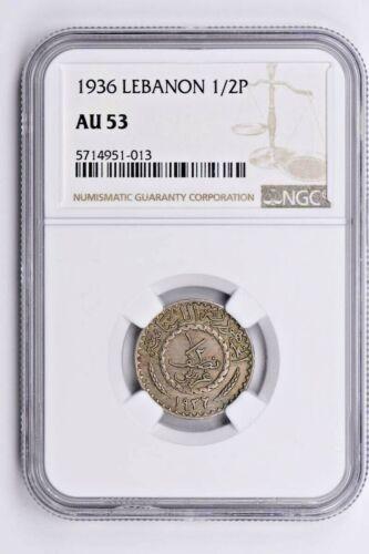 1936 Lebanon 1/2 Piastre NGC AU 53 Witter Coin