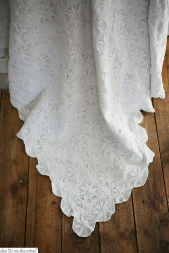 Antique French BED COVER PIQUE flower design cotton c 1900