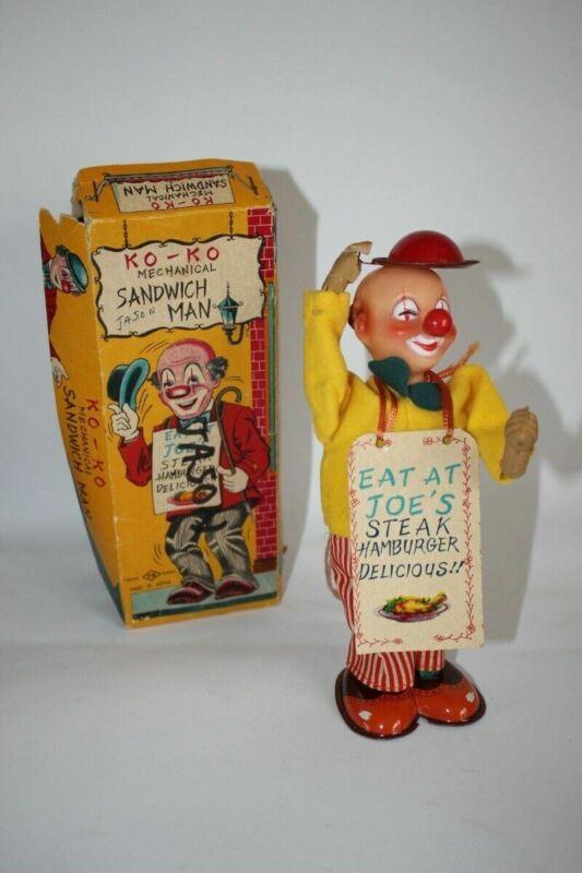 Vintage Japan Tin Toy  Wind Up KO-KO Mechanical Sandwich Man in Original Box