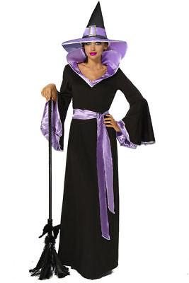 Hexen Kostüm Hexe Halloween Fasching Karneval Zauberin Schwarz Lila Kleid Neu