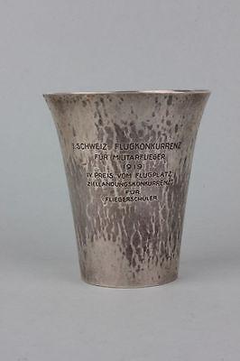 Schweiz - Silber Militärflieger-Becher IV. Preis 1919 - National Zeitung   rar