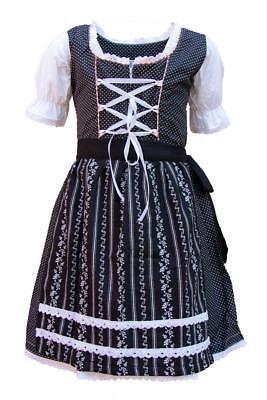 Kinder Dirndl Trachtenkleid Lotti schwarz-weiß Punkte (Kinder Schwarz Kleid)