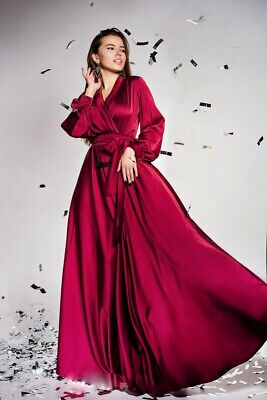 Cheap Satin Women Robe Luxury Lace V Neck Lace up Plus Size 6 8 10 12+++ Custom - Inexpensive Satin Robes