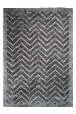 Lines Zig Zag Pattern Pattern Viscose Rug Navy Blue Grey Anthracite 120x170cm
