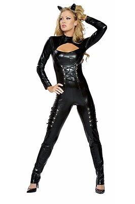 Sexy Katzen Kostüm Mieze Black Cat Gr.36-38 M/L NEU Anzug Overall Fasching Karne