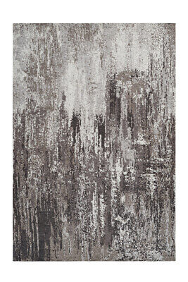Carpet Vinatge Design Pattern Modern Used Look Rugs Grey Black