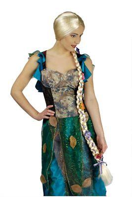 Rapunzel Zopf Perücke 80 cm lang, blond m. Blumen Damen Karneval ()
