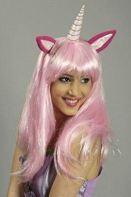 Perücke Einhorn pink rosa für Kostüm Märchen Fantasy Fabelwesen Einhornkostüm