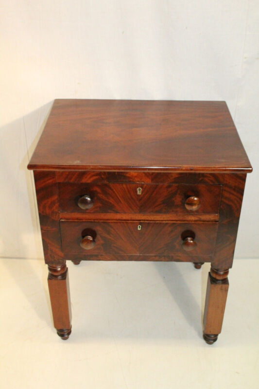 Antique 19th c American Empire Mahogany Bedside Table Nightstand,