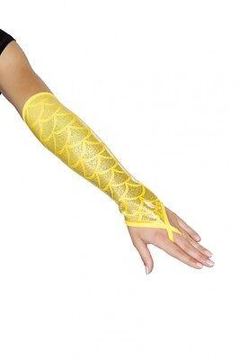 Mermaid Armstulpen Meerjungfrau Kostüm gelb fingerlos 2 Stück (1 Paar - Meerjungfrau Paare Kostüm