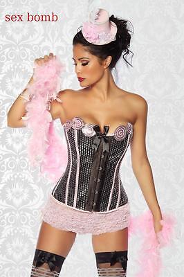 SEXY set corsetto BURLESQUE+tanga+cappello+calze S,M,L,XL,2XL (40,42,44,46,48)
