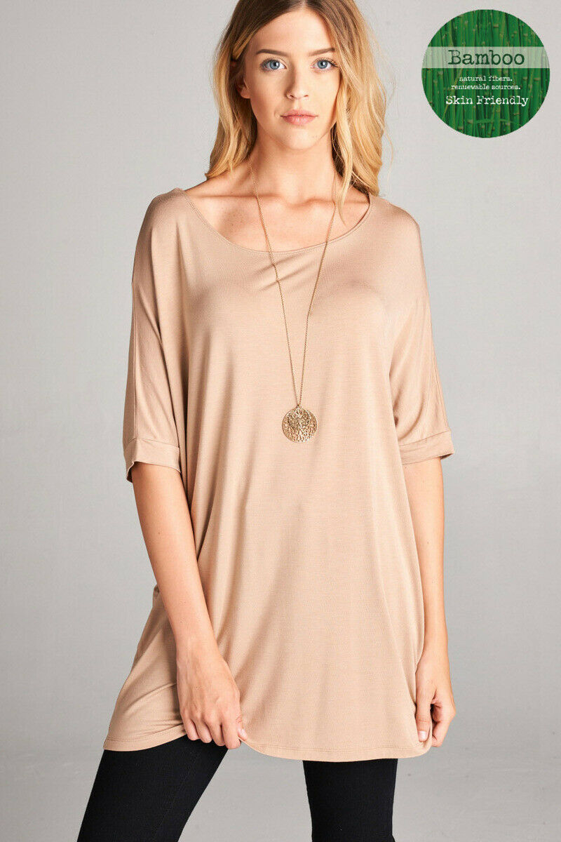 Womens Missy Elbow Sleeve Jersey Round Neck Bamboo Spandex Tunic Top Loose Fit Clothing, Shoes & Accessories