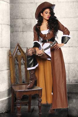 Sexy Piratenkleid braun Gr. S-M, L, XL, - Sexy Braune Piraten Kostüme