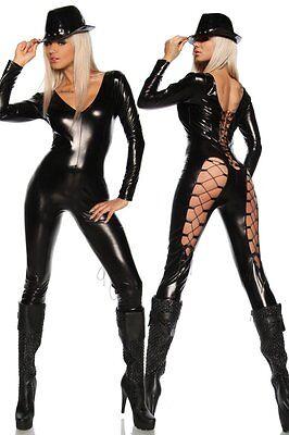 Sexy Caty Katzen Wetlook Overall Gogo Kostüm