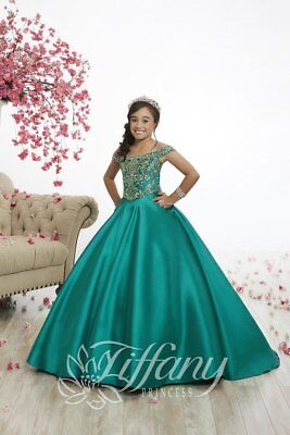 AUTHENTIC Tiffany Princess 13516 Emerald Green Girls Pageant Gown Dress sz 10 Girls Emerald Green
