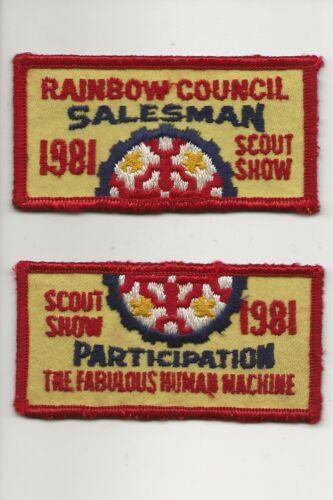 RAINBOW COUNCIL / 1981 SALESMAN / PARTICIPATION patches - Boy Scout BSA /7-18
