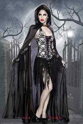 Reizvolle Kostüme Gothic Vampir Kleid+Mantel+Handschuhe Dark Halloween Fashion ()