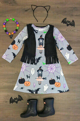 Halloween Toddler Kids Baby Girls Cartoon Print Long Sleeve Dress Casual Clothes - Halloween Kids Cartoon