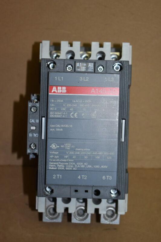 Motor starter, Contactor, 230A, 600V, 3ph, 120V coil, A145-30, ABB