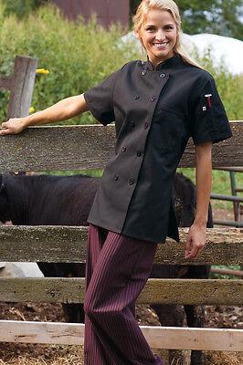 Womens Chef Coat Short Sleeve 0478 Sizes Xs To 3xl Black Free Shipping