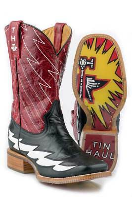 Tin Haul Boots Tin Haul Mens Western The Flash Black Leather Cowboy Boots - Cheap Mens Cowboy Boots