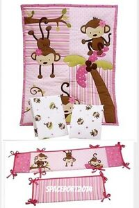 NEW-Girls-Pink-Monkey-PORTABLE-Mini-CRIB-COMFORTER-2-SHEETS-or-BUMPER-Set-Kids